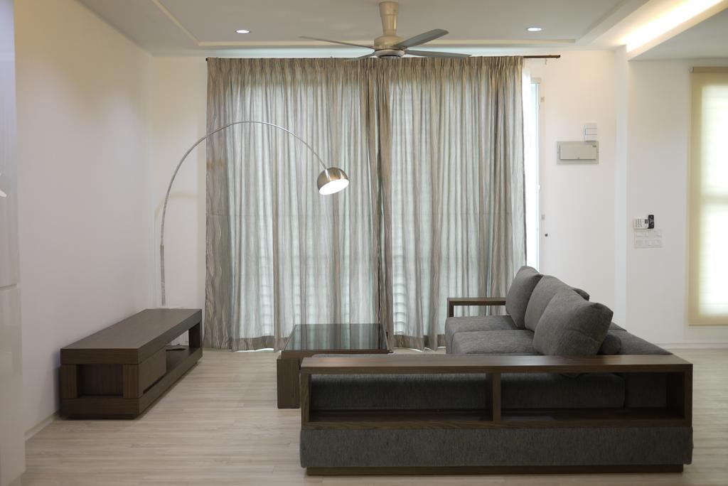 Minimalistic, Landed, Living Room, Bukit Tengah, Interior Designer, Minterior Project Sdn Bhd, Coffee Table, Furniture, Table, Indoors, Interior Design, Couch, Chair