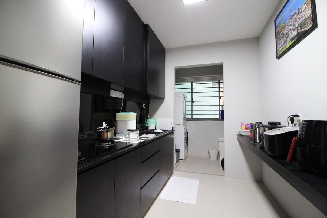 Punggol Drive, Aestherior, Kitchen, HDB, Projection Screen, Screen, Indoors, Interior Design, Room