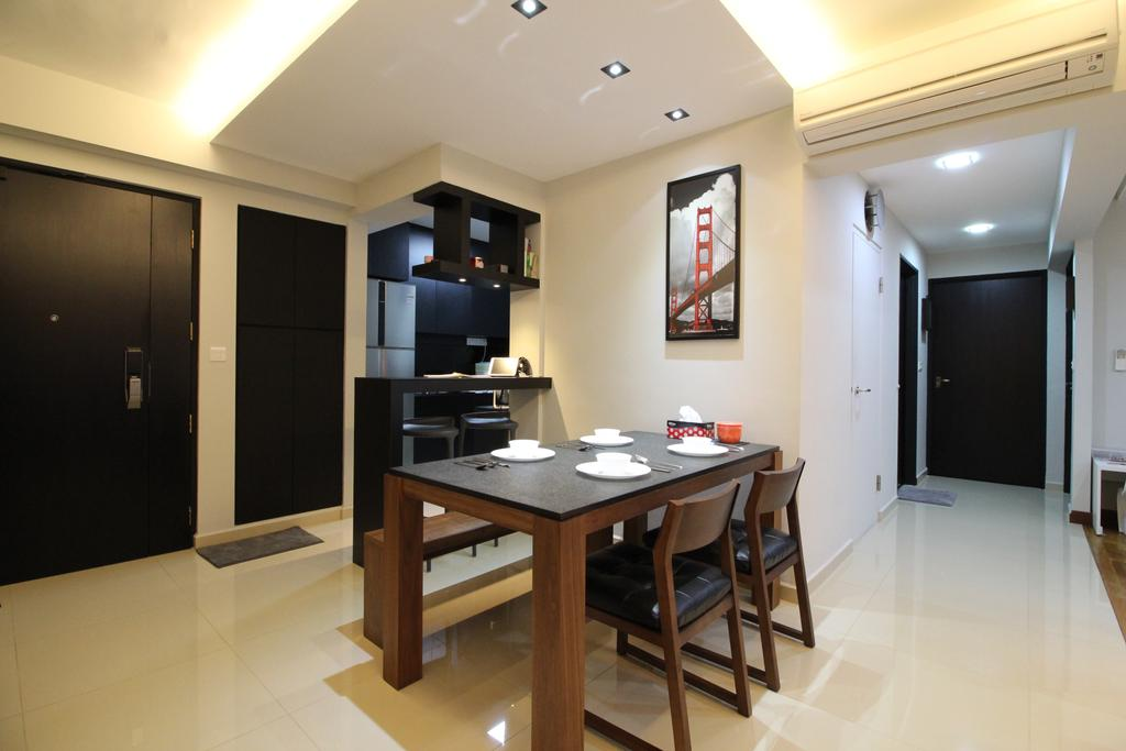 HDB, Dining Room, Punggol Drive, Interior Designer, Aestherior, Indoors, Interior Design, Room, Dining Table, Furniture, Table, Flooring, Bathroom, Electronics, Entertainment Center, Home Theater