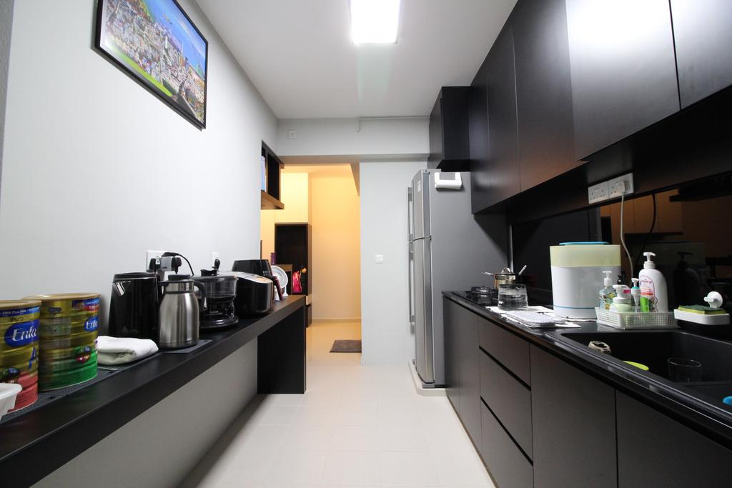 HDB, Kitchen, Punggol Drive, Interior Designer, Aestherior, Projection Screen, Screen, Lighting