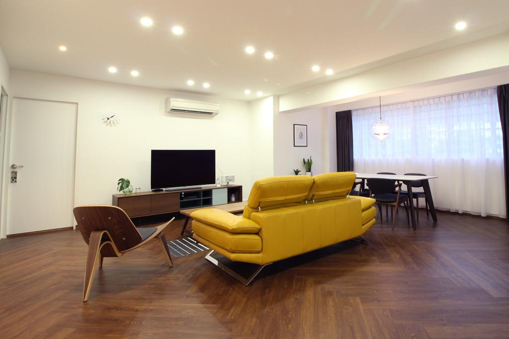 Contemporary, HDB, Living Room, Simei Street 1, Interior Designer, Aestherior, Scandinavian, Couch, Furniture, Indoors, Interior Design, Hardwood, Wood, Electronics, Entertainment Center, Flooring, Home Theater, Dining Table, Table