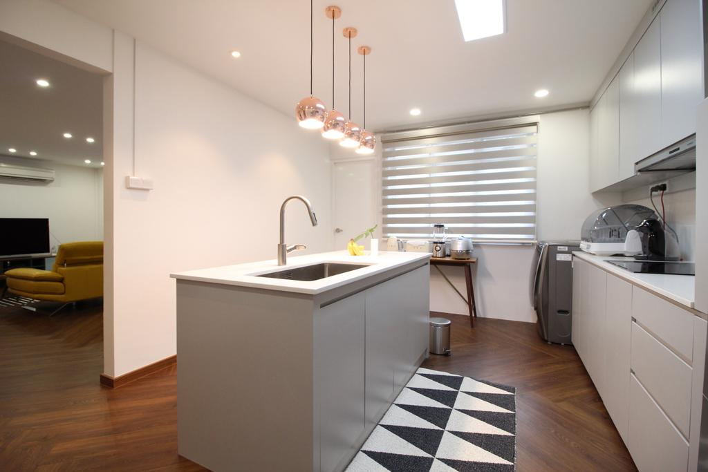 Contemporary, HDB, Simei Street 1, Interior Designer, Aestherior, Scandinavian, Couch, Furniture, Flooring, Indoors, Interior Design, Kitchen, Room