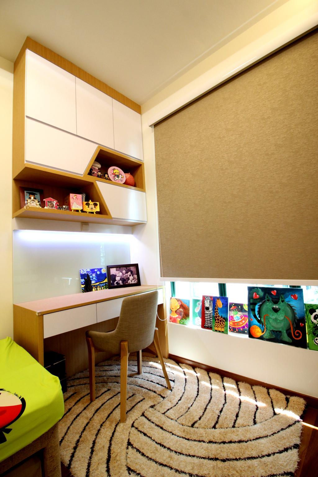 Condo, Parc Palais, Interior Designer, Aestherior, Shelf, Human, People, Person, Desk, Furniture, Table, Bookcase