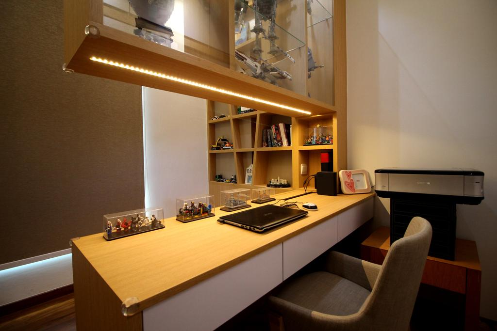 Condo, Study, Parc Palais, Interior Designer, Aestherior, Couch, Furniture, Desk, Table, Chair