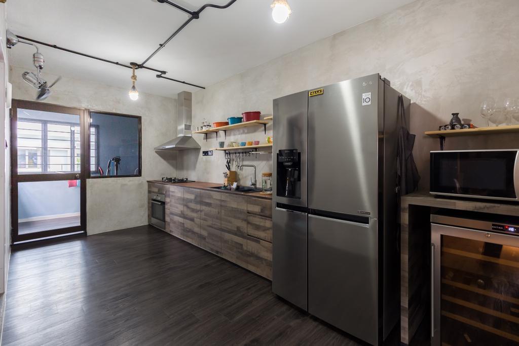 Industrial, HDB, Kitchen, Jurong West Street 65, Interior Designer, Butler Interior, Appliance, Electrical Device, Fridge, Refrigerator, Oven