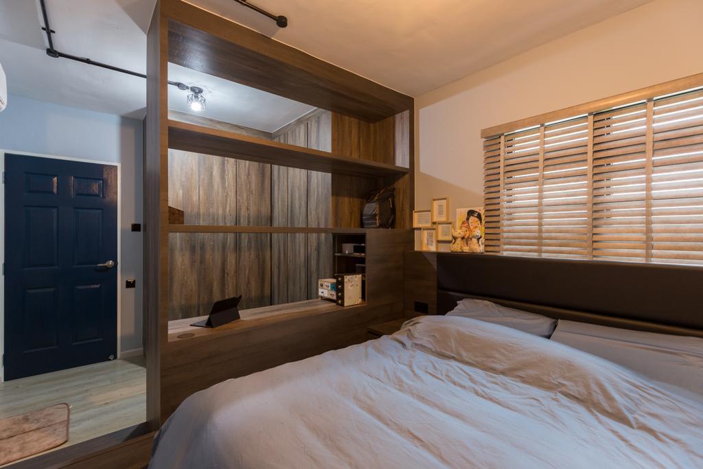 Industrial, HDB, Bedroom, Jurong West Street 65, Interior Designer, Butler Interior, Bed, Furniture, Indoors, Interior Design, Room