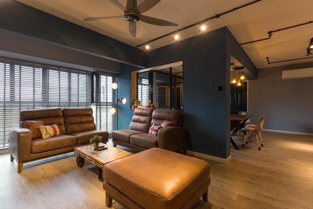 Industrial, HDB, Living Room, Jurong West Street 65, Interior Designer, Butler Interior, Couch, Furniture, Building, Housing, Indoors, Loft, Interior Design, Room