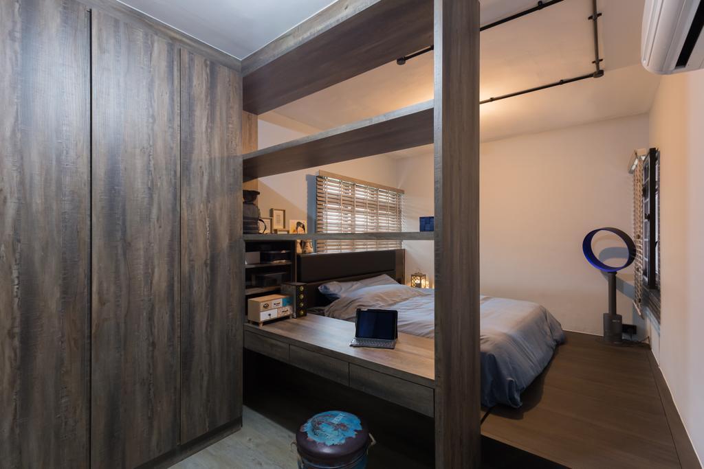 Industrial, HDB, Bedroom, Jurong West Street 65, Interior Designer, Butler Interior, Bed, Furniture