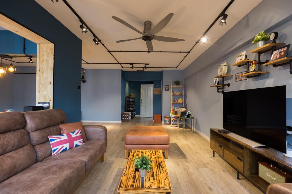 Industrial, HDB, Living Room, Jurong West Street 65, Interior Designer, Butler Interior, Couch, Furniture, Flora, Jar, Plant, Potted Plant, Pottery, Vase, Propeller, Indoors, Room, Chair