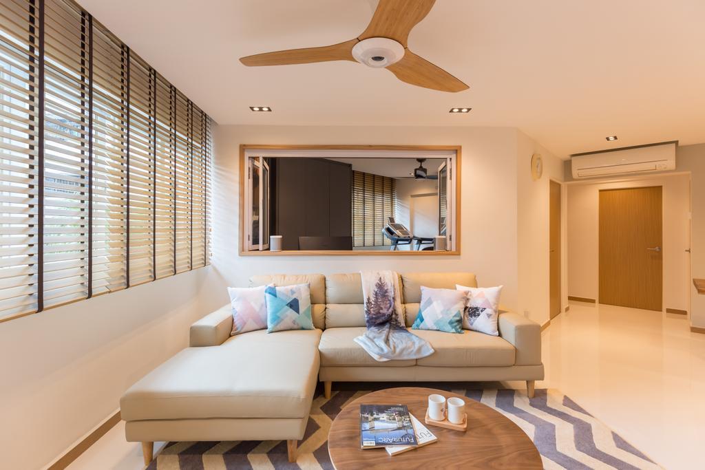 Scandinavian, HDB, Living Room, Shunfu Road, Interior Designer, Posh Home, Couch, Furniture, Door, Sliding Door, Indoors, Room
