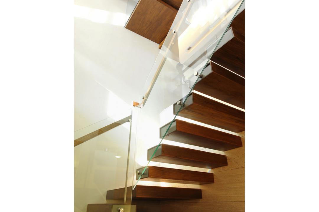 32 Allamanda Grove, TENarchitects, Contemporary, Landed, Staircase, Stair, Modern, Glass, Banister, Handrail, Hardwood, Wood