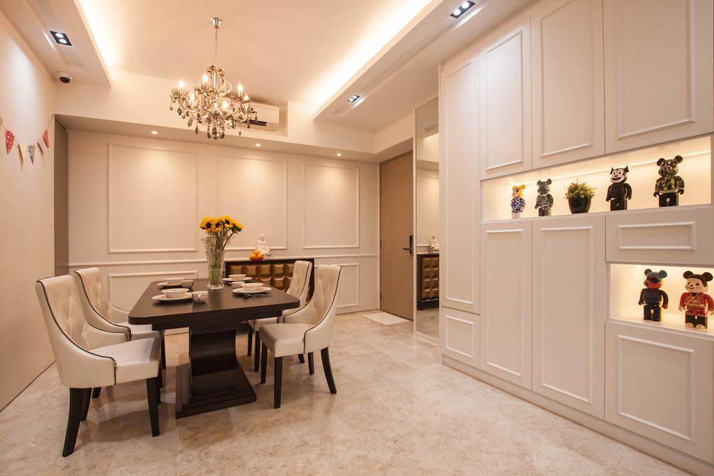 Transitional, Condo, Dining Room, The Venue Residences, Interior Designer, Space Atelier, Chair, Furniture, Dining Table, Table, Indoors, Interior Design, Room
