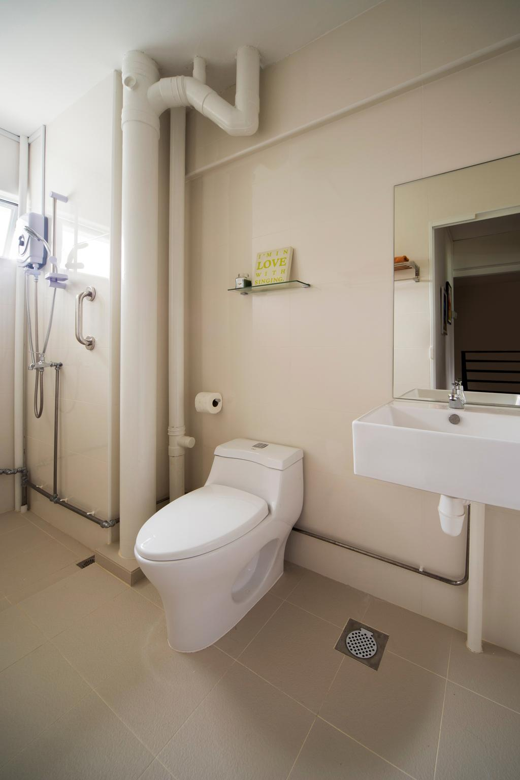 Eclectic, HDB, Bedroom, Jalan Batu Masionette, Interior Designer, Space Concepts Design, Wall Tiles, Mirror, Toilet, Molding, White Board, Shelf
