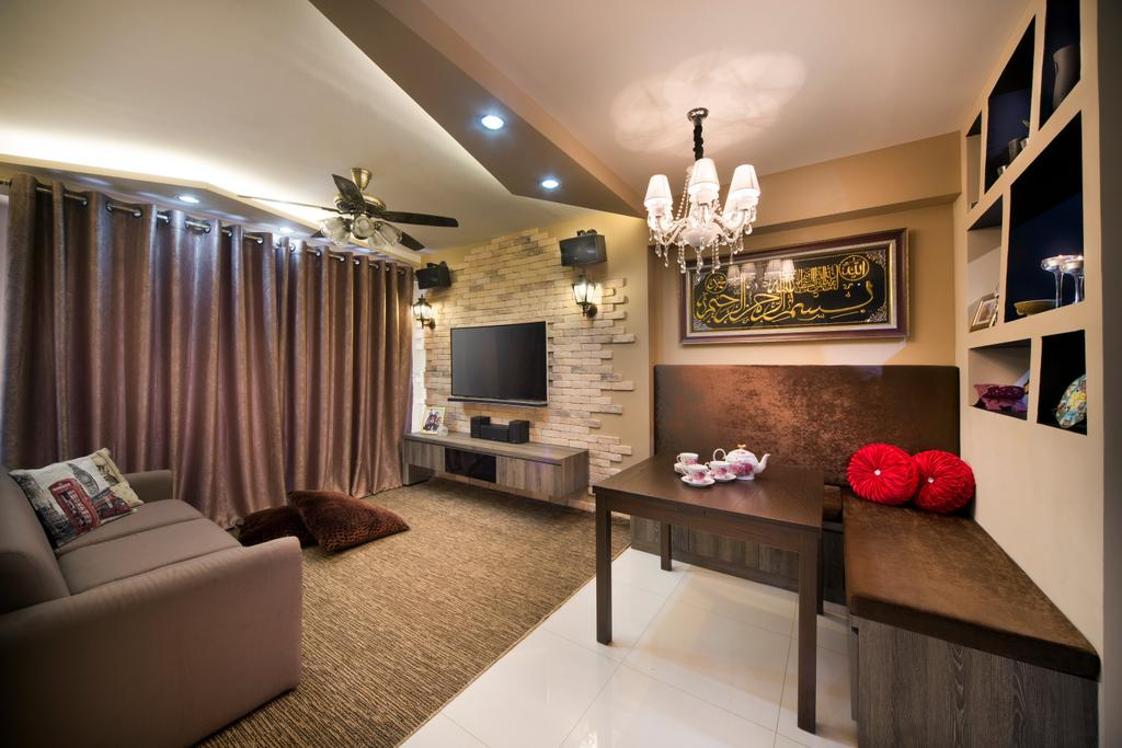 Traditional, HDB, Living Room, Punggol Walk (Block 308), Interior Designer, Chapter One Interior Design, Electronics, Entertainment Center, Home Theater, Indoors, Interior Design, Couch, Furniture, Flora, Jar, Plant, Potted Plant, Pottery, Vase