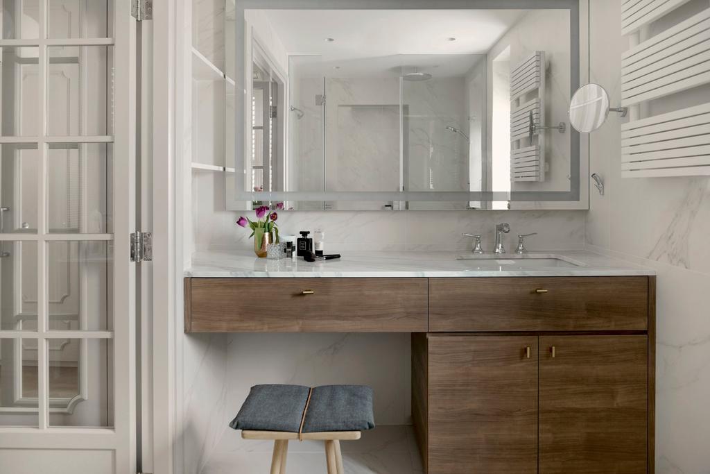 當代, 私家樓, 浴室, 跑馬地, 室內設計師, hoo, 古典, Vanity, Powder Room, Cushion, Headrest, Home Decor, Chair, Furniture