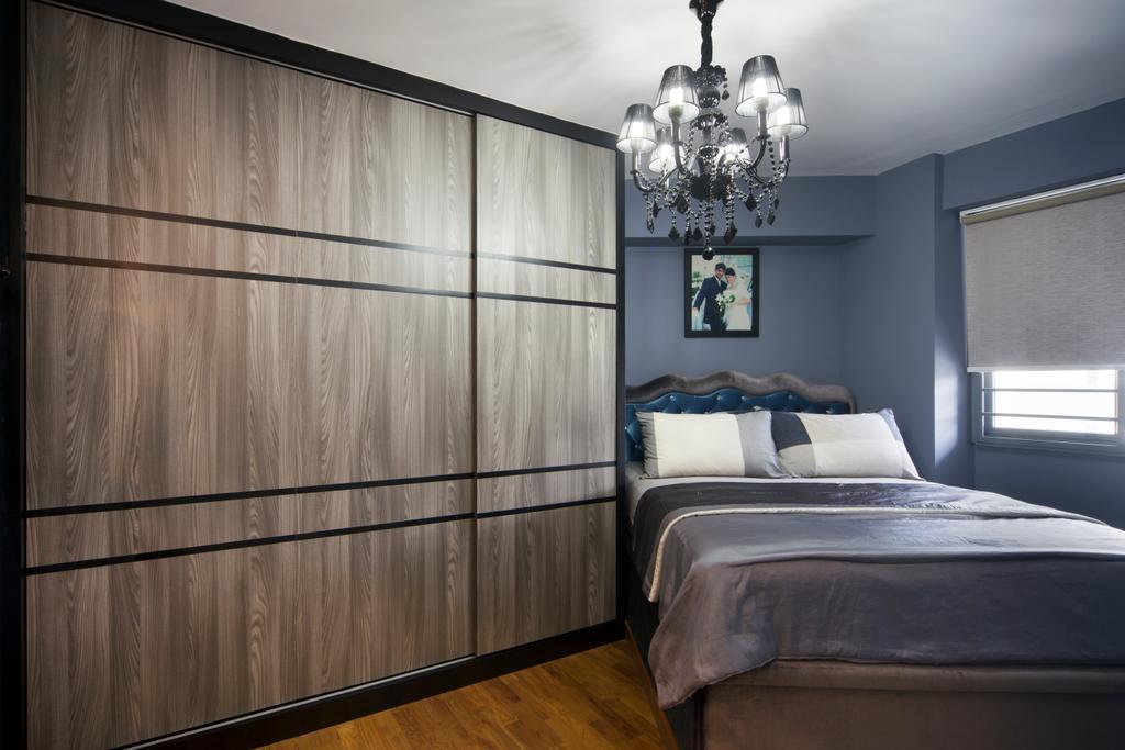 Traditional, HDB, Bedroom, Punggol Walk (Block 308), Interior Designer, Chapter One Interior Design, Chandelier, Lamp, Bed, Furniture, Indoors, Interior Design, Room