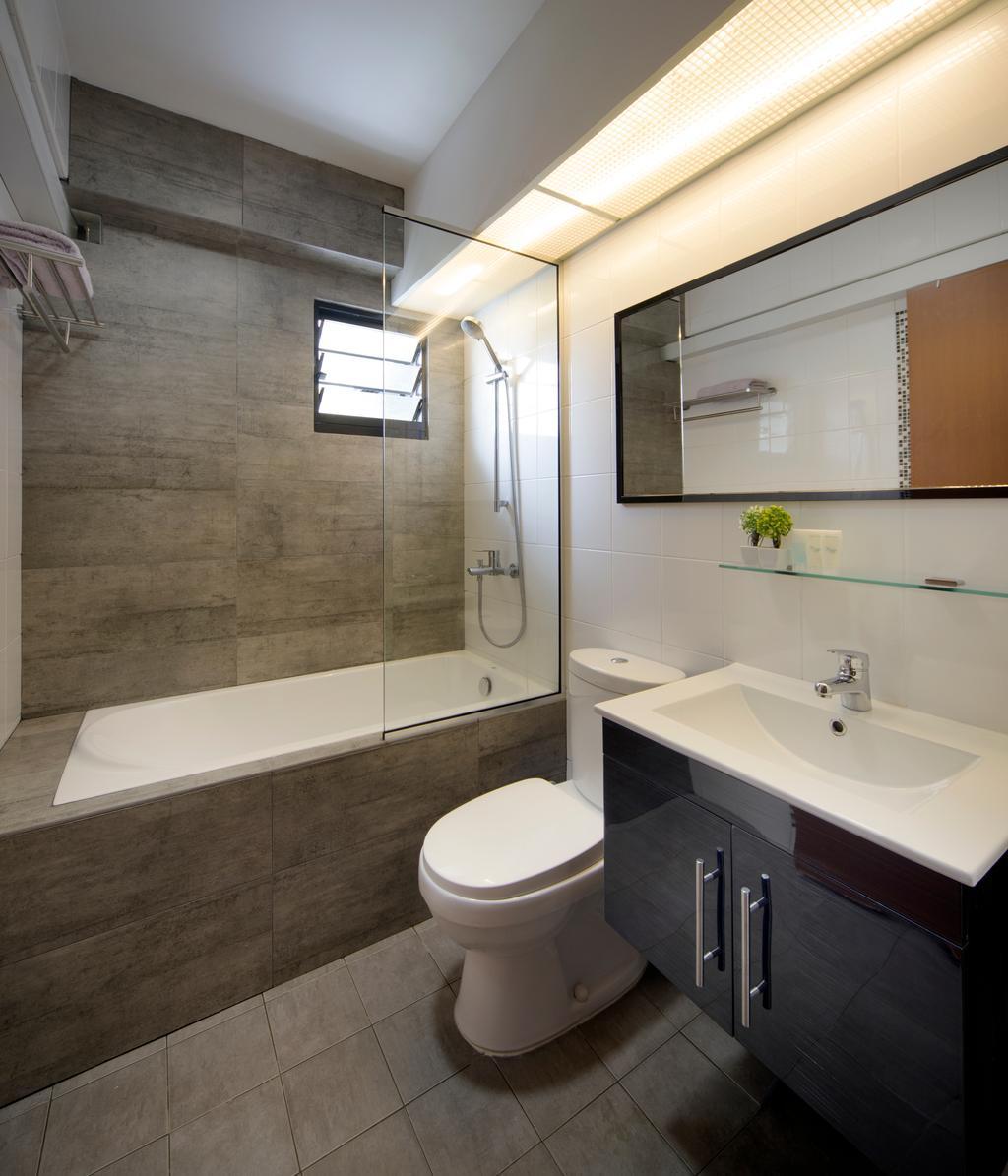 Industrial, HDB, Bathroom, Punggol Way (Block 265C), Interior Designer, Chapter One Interior Design, Bathtub, Tiles, Water Closet, Vanity, Bath Sink, Bath Closet, Indoors, Interior Design, Room