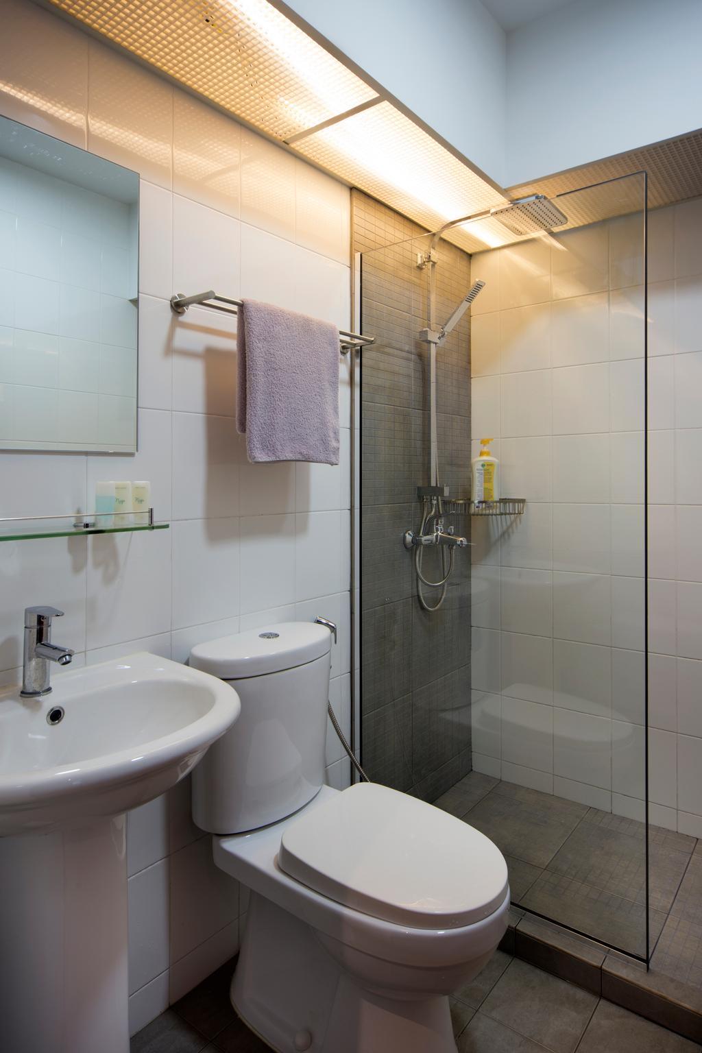 Industrial, HDB, Bathroom, Punggol Way (Block 265C), Interior Designer, Chapter One Interior Design, Shower Partition, Shower Screen, Screen, Towel, Indoors, Interior Design, Room