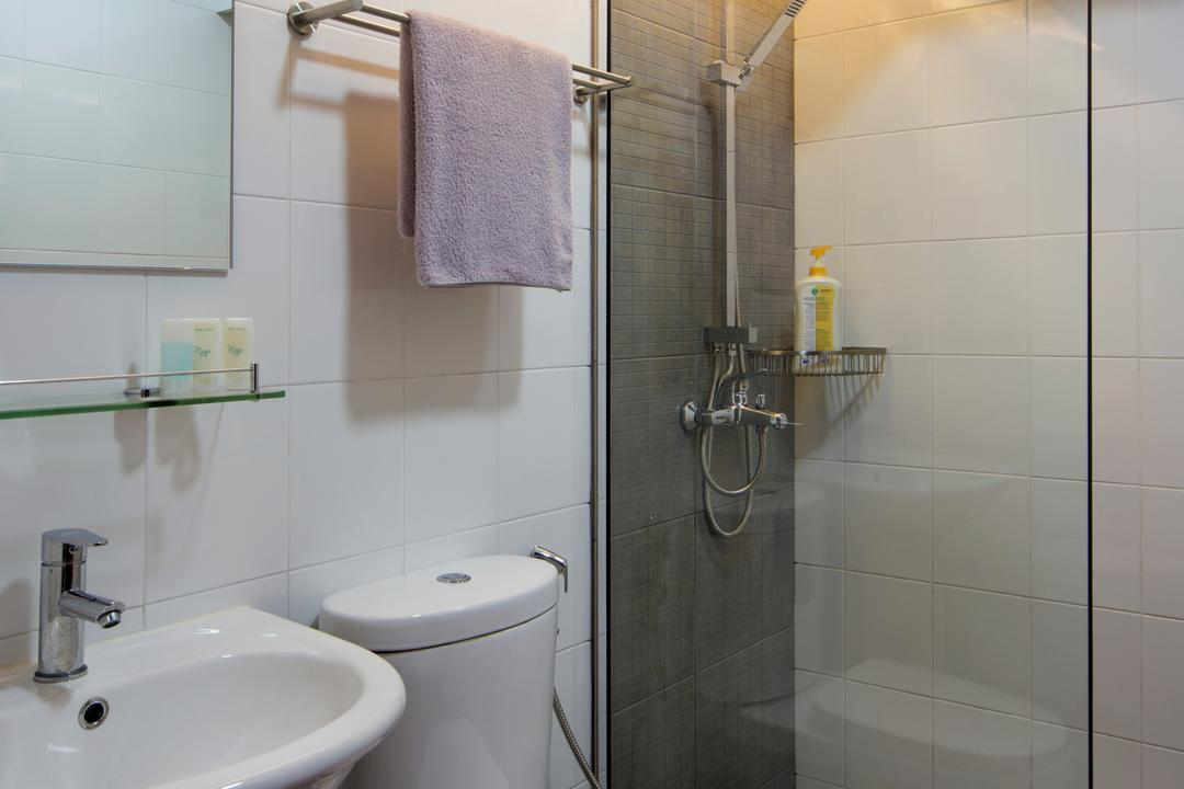 Punggol Way (Block 265C), Chapter One Interior Design, Industrial, Bathroom, HDB, Shower Partition, Shower Screen, Screen, Towel, Indoors, Interior Design, Room