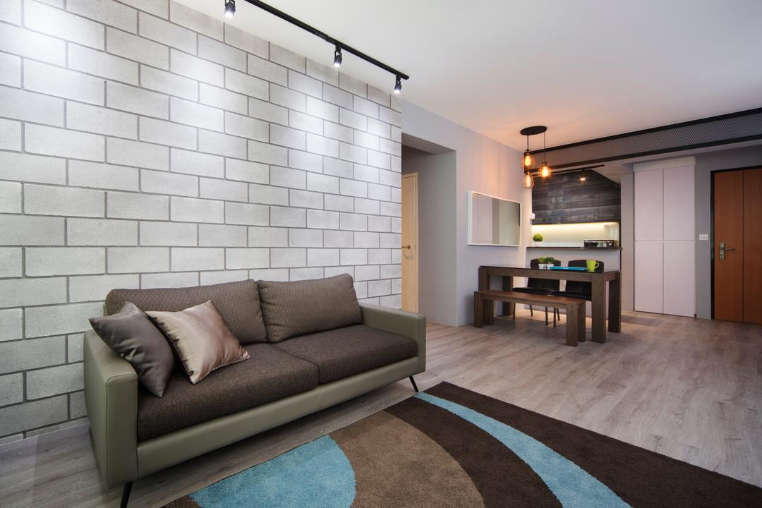 Punggol Way (Block 265C), Chapter One Interior Design, Industrial, Living Room, HDB, Brick Wall, Track Lights, Rug, Blue, Pale, Brown, Cream, Neutral, Couch, Furniture, Indoors, Interior Design, Dining Room, Room