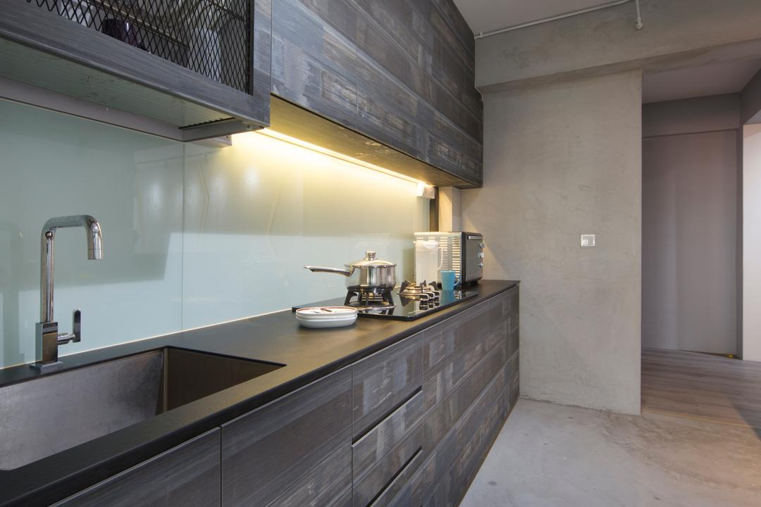 Punggol Way (Block 265C), Chapter One Interior Design, Industrial, Kitchen, HDB, Rustic, Laminate, Dish Rack, Rough, Cement Screed, Raw, Unfinished, Building, Housing, Indoors, Loft, Interior Design, Room