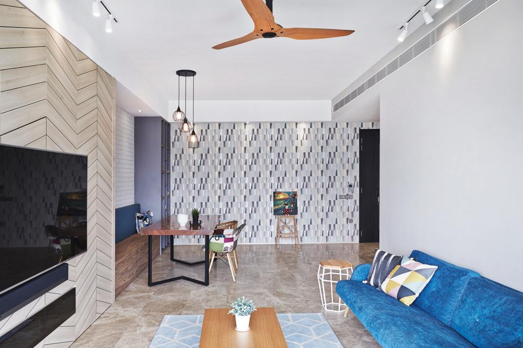 Scandinavian, Condo, Living Room, Corals at Keppel Bay, Interior Designer, Space Define Interior, Dining Table, Furniture, Table