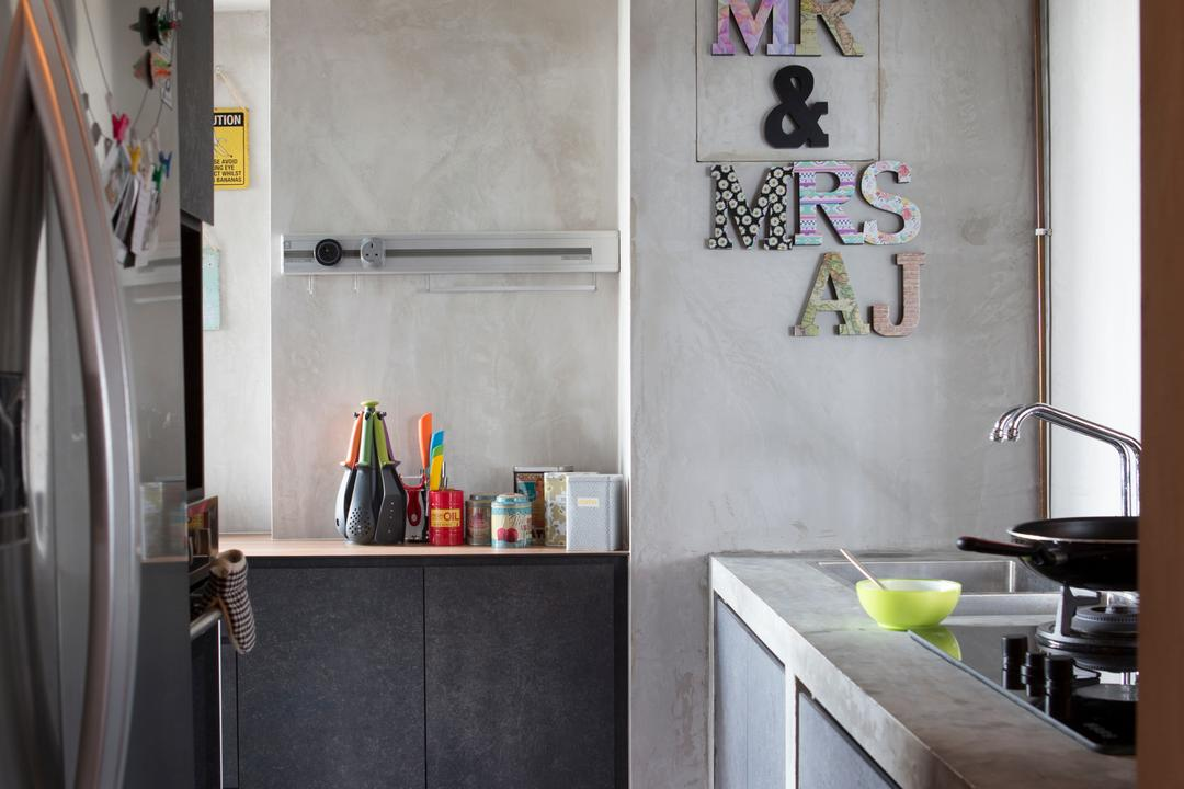 SkyTerrace @ Dawson (Block 93), Chapter One Interior Design, Industrial, Kitchen, HDB, Grey, Gray, Counter Top, Exposed Piping, Appliance, Electrical Device, Oven