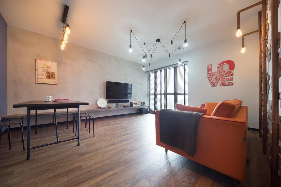SkyTerrace @ Dawson (Block 93), Chapter One Interior Design, Industrial, Living Room, HDB, Spacious, Airy, Simple, Industrial Lights, Sofa, Pencil Legs, Dining Table, Furniture, Table, Chair, Dining Room, Indoors, Interior Design, Room, Building, Housing, Loft