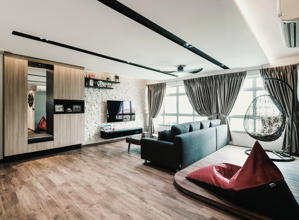HDB, Living Room, Keat Hong Close, Interior Designer, Lemonfridge Studio, Couch, Furniture, Curtain, Home Decor, Building, Housing, Indoors, Loft