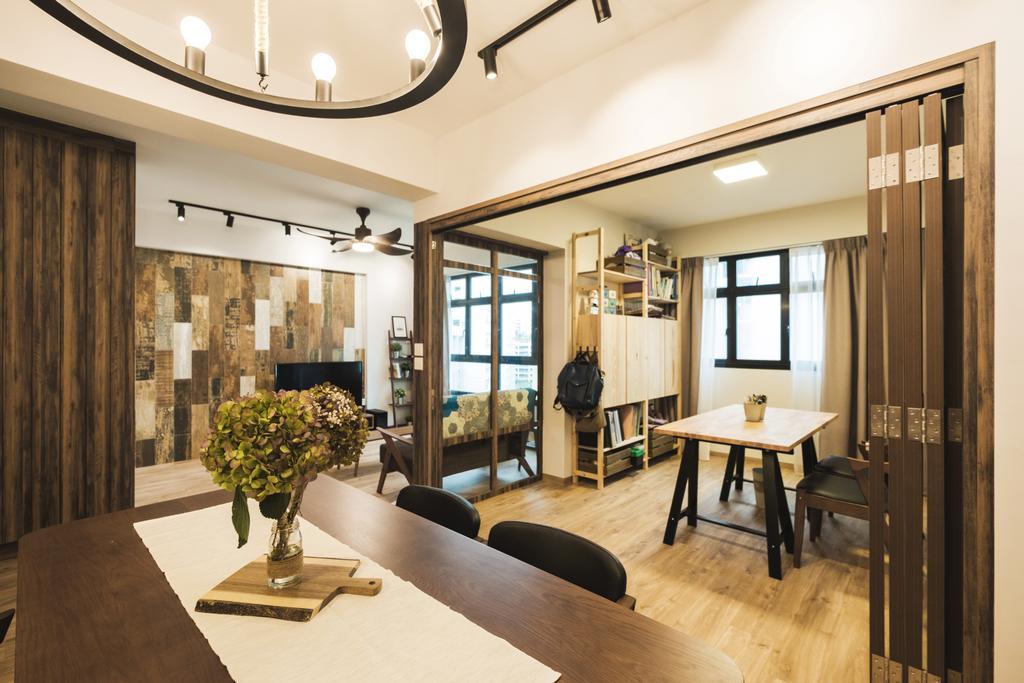 Eclectic, HDB, Study, Yishun Avenue 4 (Block 509), Interior Designer, Lemonfridge Studio, Scandinavian, Dining Table, Furniture, Table, Dining Room, Indoors, Interior Design, Room