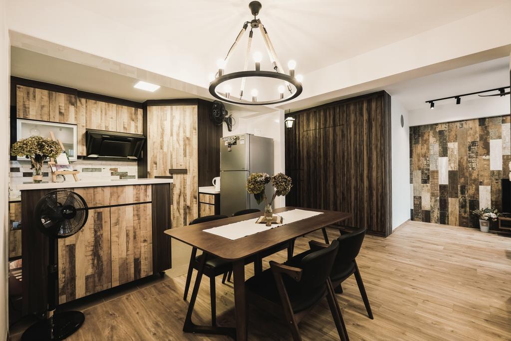 Eclectic, HDB, Kitchen, Yishun Avenue 4 (Block 509), Interior Designer, Lemonfridge Studio, Scandinavian, Dining Room, Indoors, Interior Design, Room, Dining Table, Furniture, Table, Flooring
