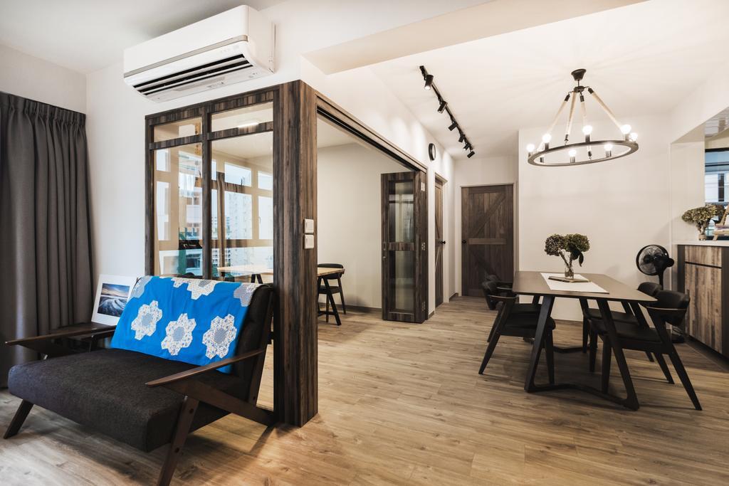 Eclectic, HDB, Living Room, Yishun Avenue 4 (Block 509), Interior Designer, Lemonfridge Studio, Scandinavian, Light Fixture, Dining Room, Indoors, Interior Design, Room, Dining Table, Furniture, Table, Chair