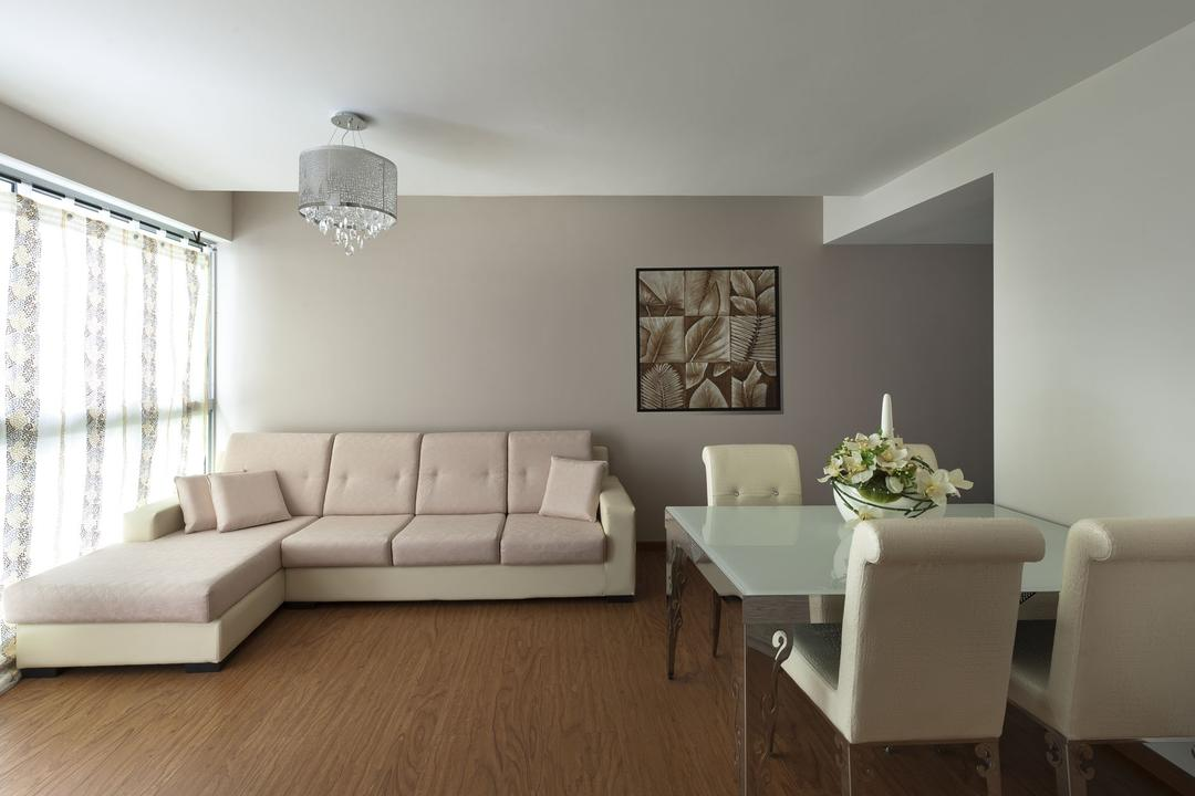 Punggol Drive, D5 Studio Image, Transitional, Living Room, HDB, Curtains, Soft, Vintage, Feminine, Cream, Neutrals, Blush, Beige, Pink, Chandelier, Wall Art, L Shaped Sofa, Modular Sofa, Wood Flooring, Wood Floor, Wooden Floor, Couch, Furniture, Sink, Chair, Indoors, Room