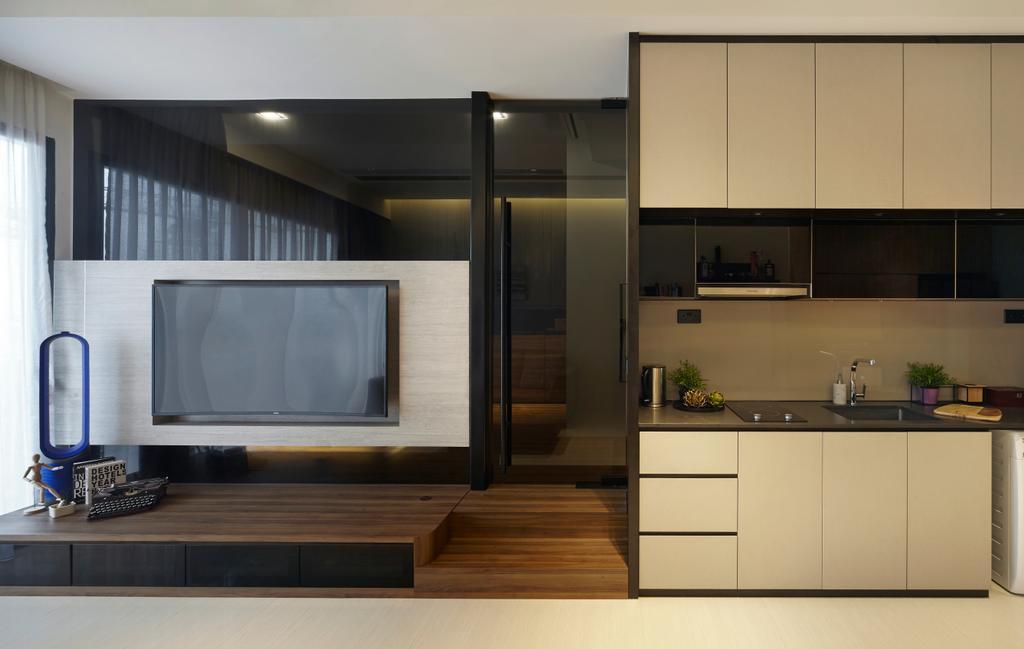 Condo, Kitchen, Boathouse Residence, Interior Designer, Notion of W, Electronics, Entertainment Center, Indoors, Interior Design, Door, Sliding Door