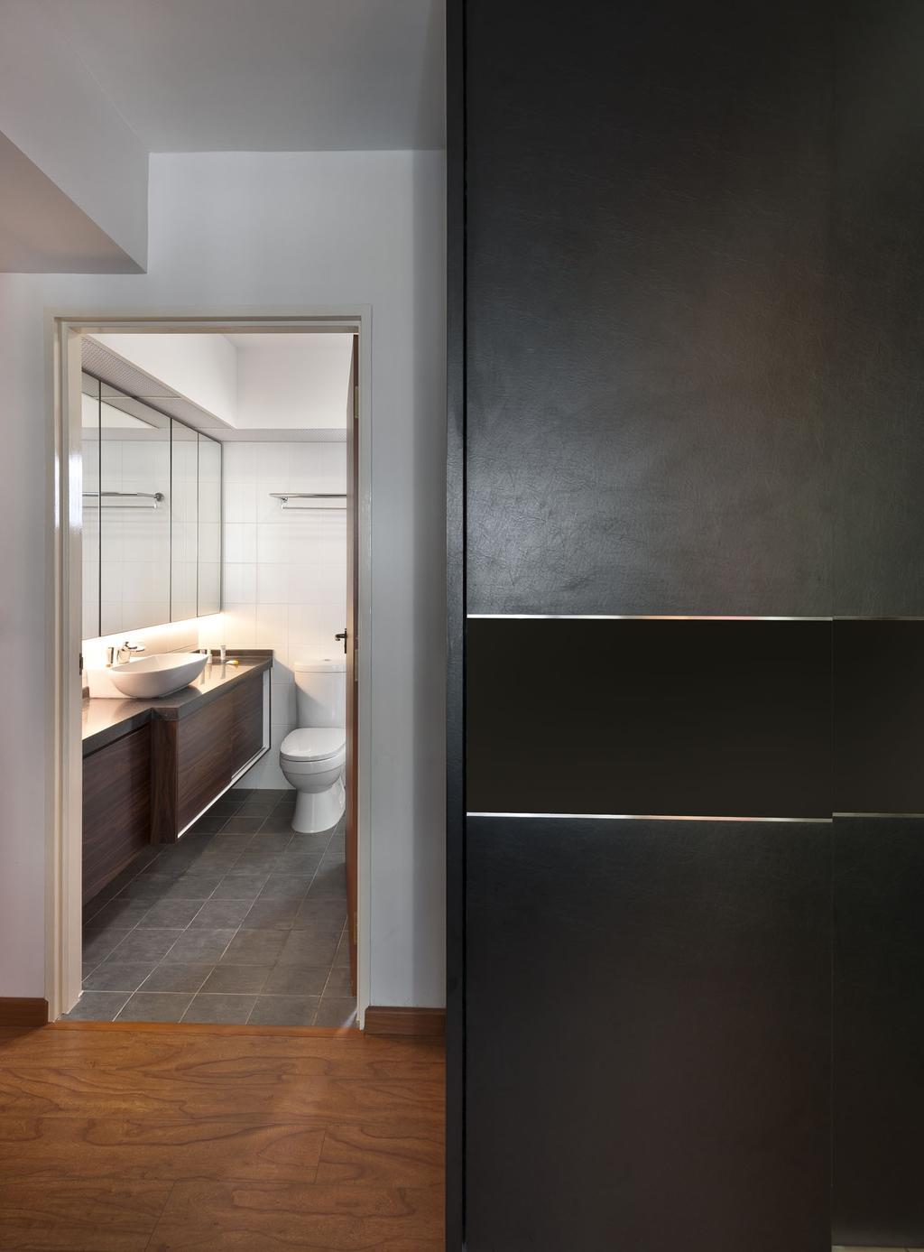 Transitional, HDB, Bathroom, Punggol Drive, Interior Designer, D5 Studio Image, Tiles, Wood Flooring, Vanity, Simple, Plain, Toilet, Indoors, Interior Design, Room