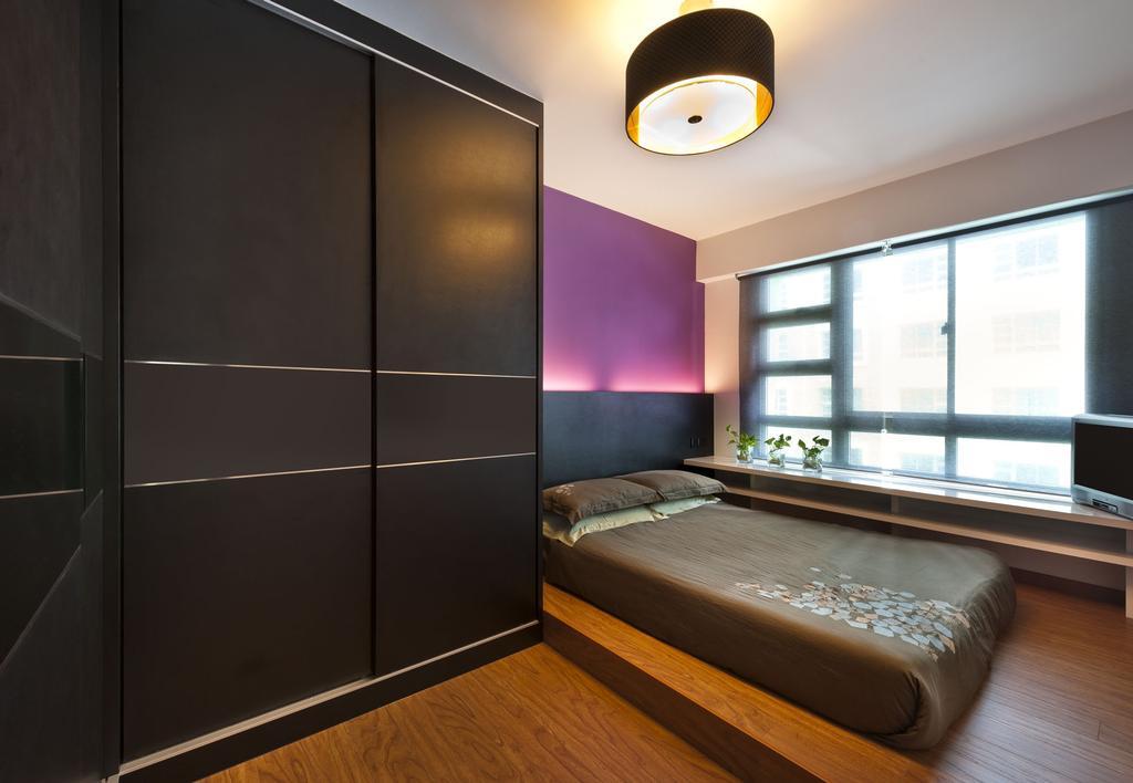 Transitional, HDB, Bedroom, Punggol Drive, Interior Designer, D5 Studio Image, Platform, Ledge, Blinds, Purple Wall, Dark, Mattress, Black Door, Brown Door, Dark Brown, Bed, Furniture, Indoors, Interior Design, Room
