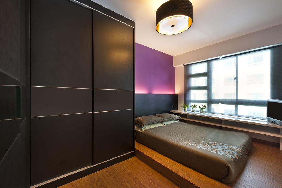 Punggol Drive, D5 Studio Image, Transitional, Bedroom, HDB, Platform, Ledge, Blinds, Purple Wall, Dark, Mattress, Black Door, Brown Door, Dark Brown, Bed, Furniture, Indoors, Interior Design, Room