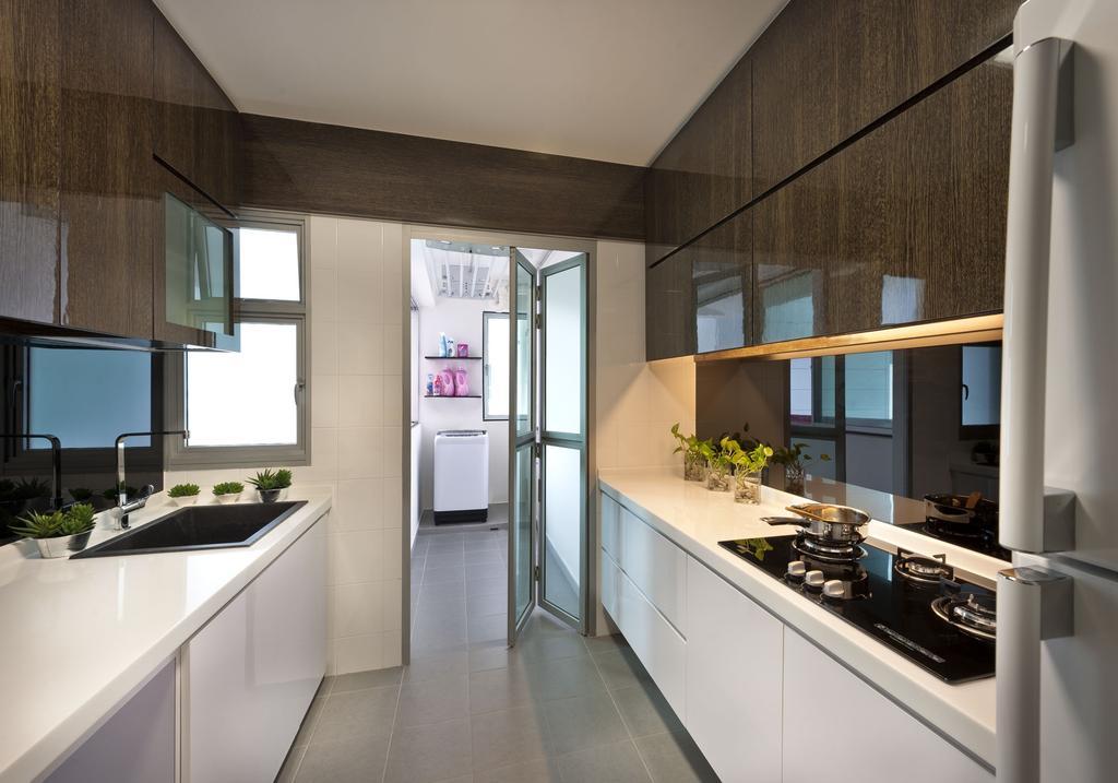 Transitional, HDB, Kitchen, Punggol Drive, Interior Designer, D5 Studio Image, Cabinet, Tiles, Solid Counter, Surface, Gloss Surface, Indoors, Interior Design, Room