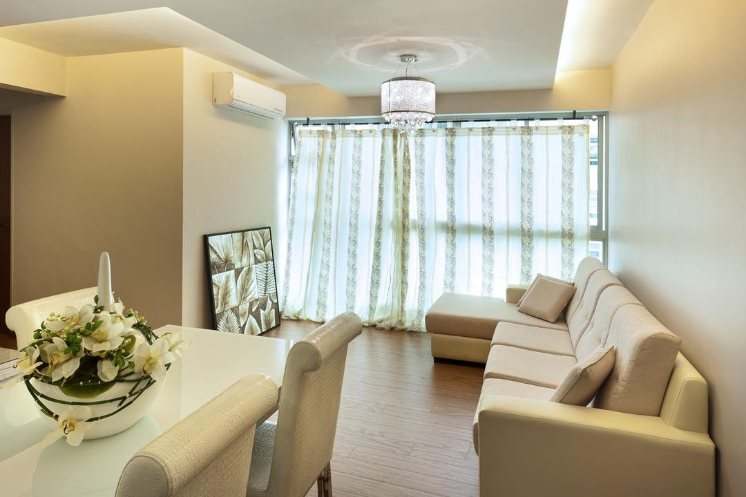 Punggol Drive, D5 Studio Image, Transitional, Dining Room, HDB, Blush, Sofa, Cream, Dining Table, Pencil Legs, Couch, Furniture, Blossom, Flora, Flower, Flower Arrangement, Ornament, Plant, Indoors, Interior Design, Room, Flower Bouquet