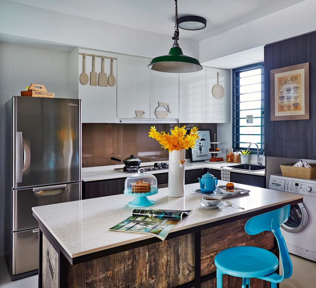 Scandinavian, Condo, Kitchen, Esparina Residences, Interior Designer, Dan's Workshop, Dry Kitchen, Fridge, Island Top, Island, Island Tbale, Stools, Chairs, Washing Machine, Laminate, Dining Ight, Wood Backing, Light Fixture, Dining Room, Indoors, Interior Design, Room, Flora, Jar, Plant, Potted Plant, Pottery, Vase