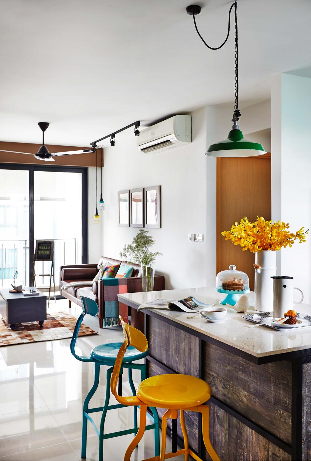 Scandinavian, Condo, Esparina Residences, Interior Designer, Dan's Workshop, Dining Area, Sofa, Track Lights, Ceiling Fan, Aircon, Cofee Table, Carpett, Tiles, Island Table, Island Top, Flora, Jar, Plant, Potted Plant, Pottery, Vase, Couch, Furniture, Dining Room, Indoors, Interior Design, Room, Chair, Lamp, Table Lamp, Shelf