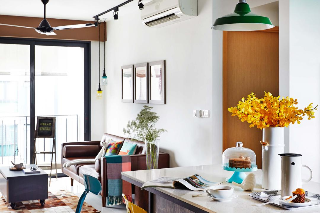 Esparina Residences, Dan's Workshop, Scandinavian, Condo, Dining Area, Sofa, Track Lights, Ceiling Fan, Aircon, Cofee Table, Carpett, Tiles, Island Table, Island Top, Flora, Jar, Plant, Potted Plant, Pottery, Vase, Couch, Furniture, Dining Room, Indoors, Interior Design, Room, Chair, Lamp, Table Lamp, Shelf