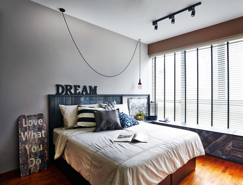 Scandinavian, Condo, Bedroom, Esparina Residences, Interior Designer, Dan's Workshop, Bed Frame, Wood Floor, Parquet, Blinds, Track Lights, Hardwood, Stained Wood, Wood