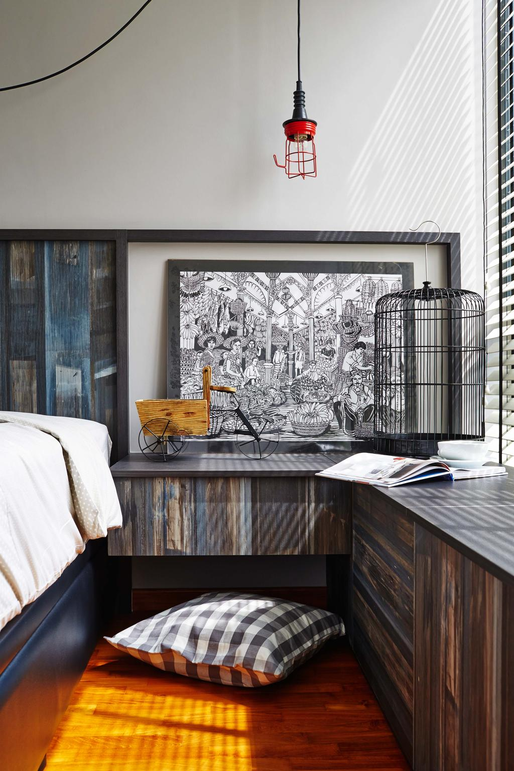Scandinavian, Condo, Bedroom, Esparina Residences, Interior Designer, Dan's Workshop, Parquet, Wood Floor, Bird Cage, Side Light