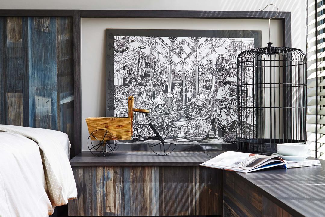 Esparina Residences, Dan's Workshop, Scandinavian, Bedroom, Condo, Parquet, Wood Floor, Bird Cage, Side Light