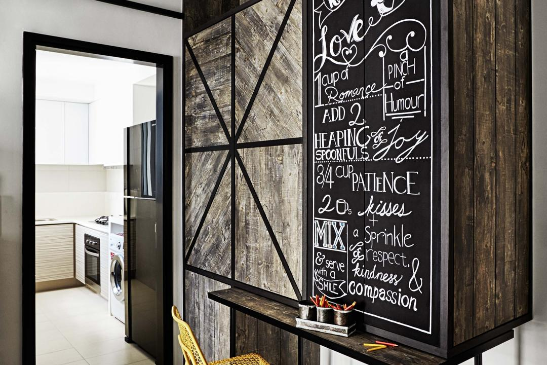 Arc @ Tampines, Dan's Workshop, Industrial, Condo, Kitchen, Fridge, Cabinets, Wood Feel, Laminate, Chalk Board, Tiles, Dining Table, Dining Chairs, Blackboard