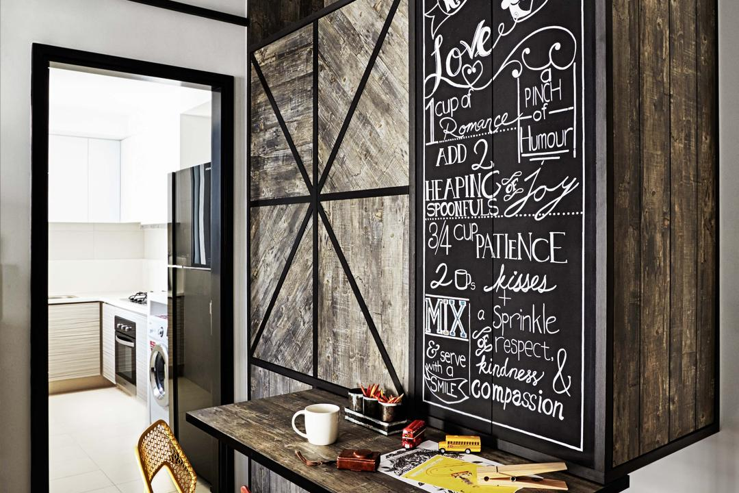 Arc @ Tampines, Dan's Workshop, Industrial, Condo, Dining Table, Kitchen, Fridge, Cabinets, Wood Feel, Chalk Board, Tiles, Blackboard