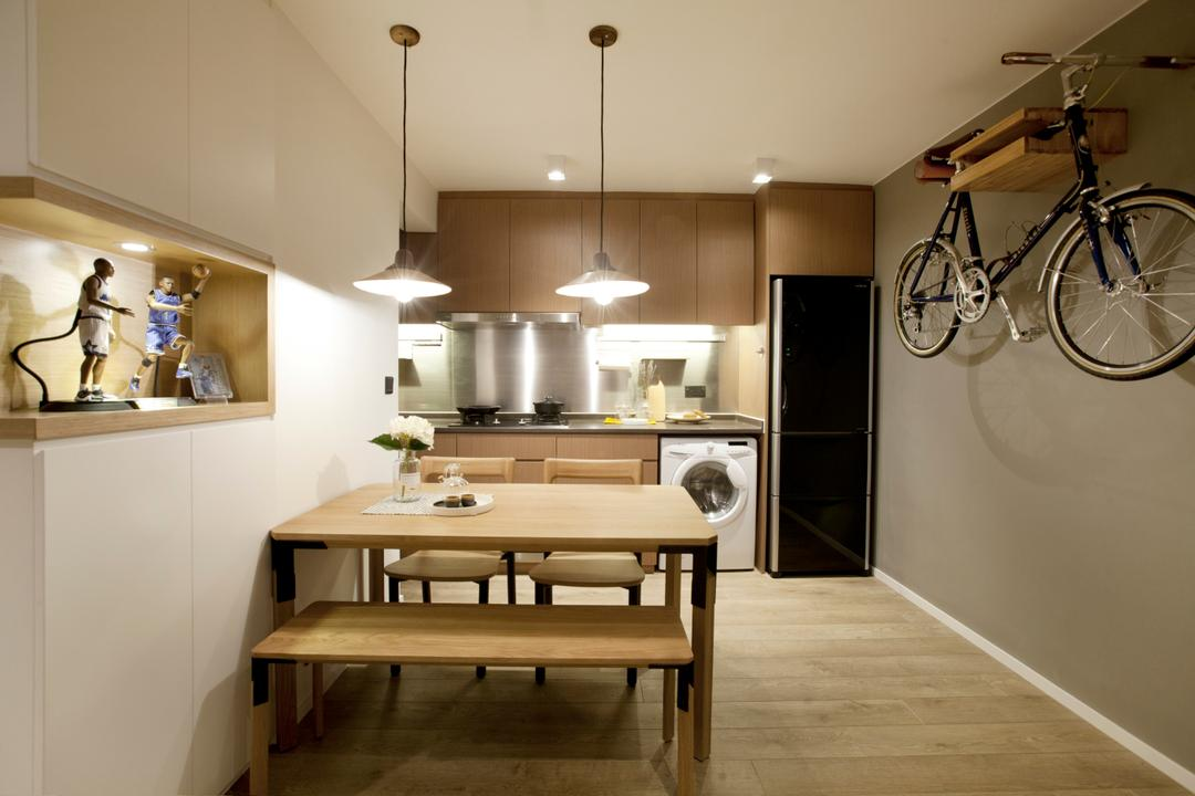 太古城, wonderwonder, 北歐, 簡約, 飯廳, 私家樓, Open Kitchen, Open Concept, Bicycle, Bike, Transportation, Vehicle, Indoors, Interior Design, Room, Mountain Bike, Dining Table, Furniture, Table