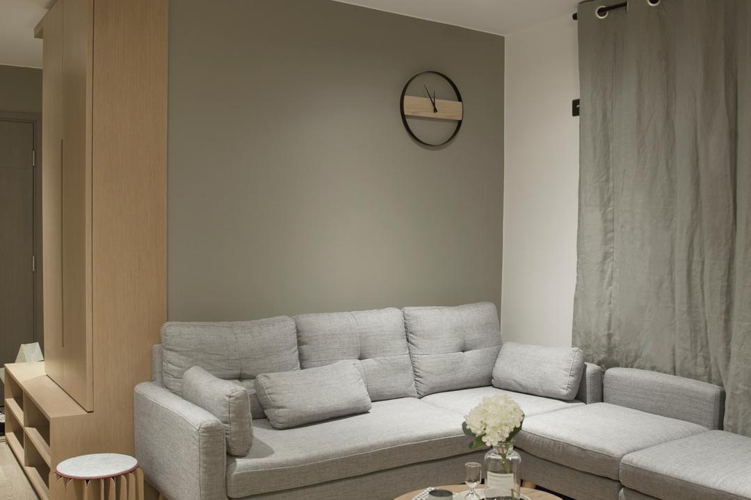 太古城, wonderwonder, 北歐, 簡約, 客廳, 私家樓, Couch, Furniture, Clock, Wall Clock, Indoors, Room