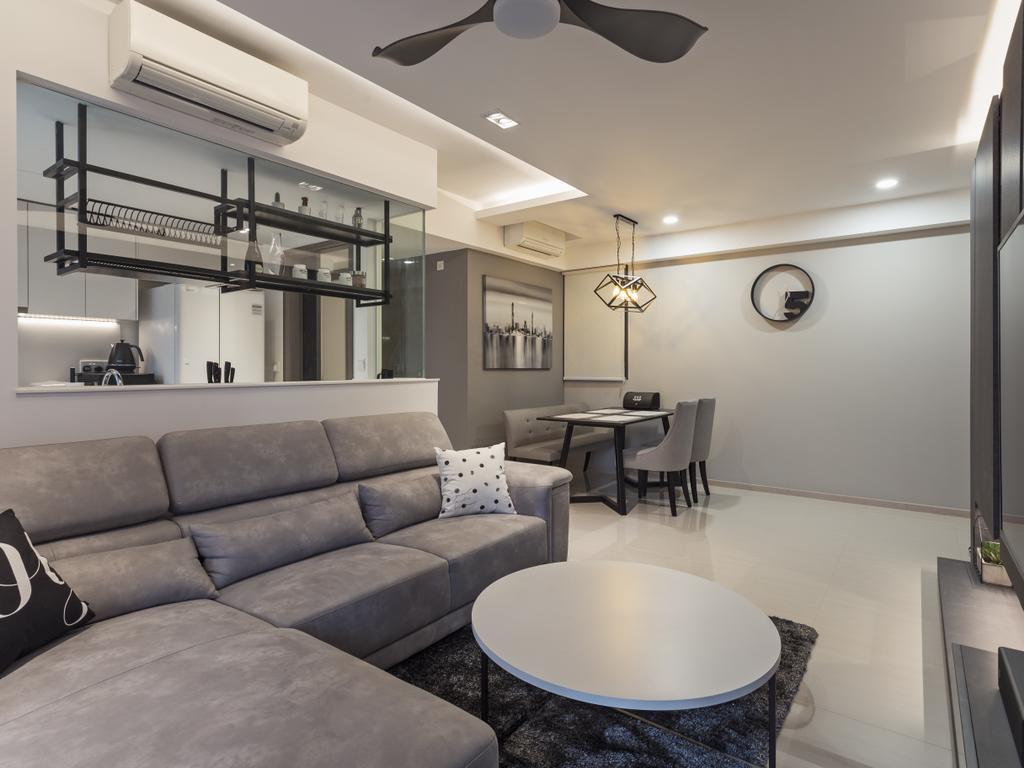Scandinavian, Condo, Living Room, Bellewaters, Interior Designer, erstudio, Couch, Furniture, Dining Table, Table, Chair, Indoors, Interior Design